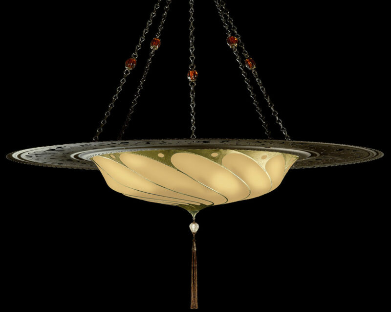 Fortuny Scudo Saraceno Plain salmon silk lamp with metal ring