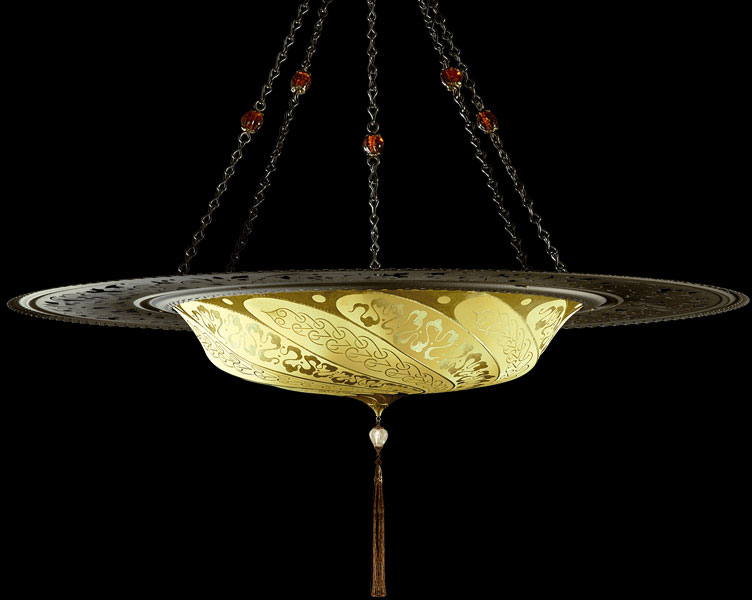Fortuny Scudo Saraceno Serpentine yellow ochre silk lamp with metal ring
