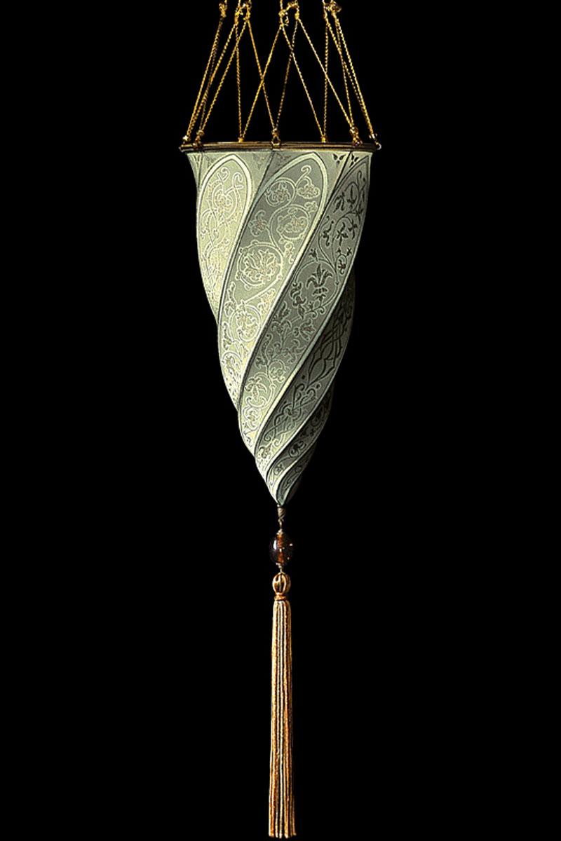 Fortuny Cesendello sage grey silk lamp
