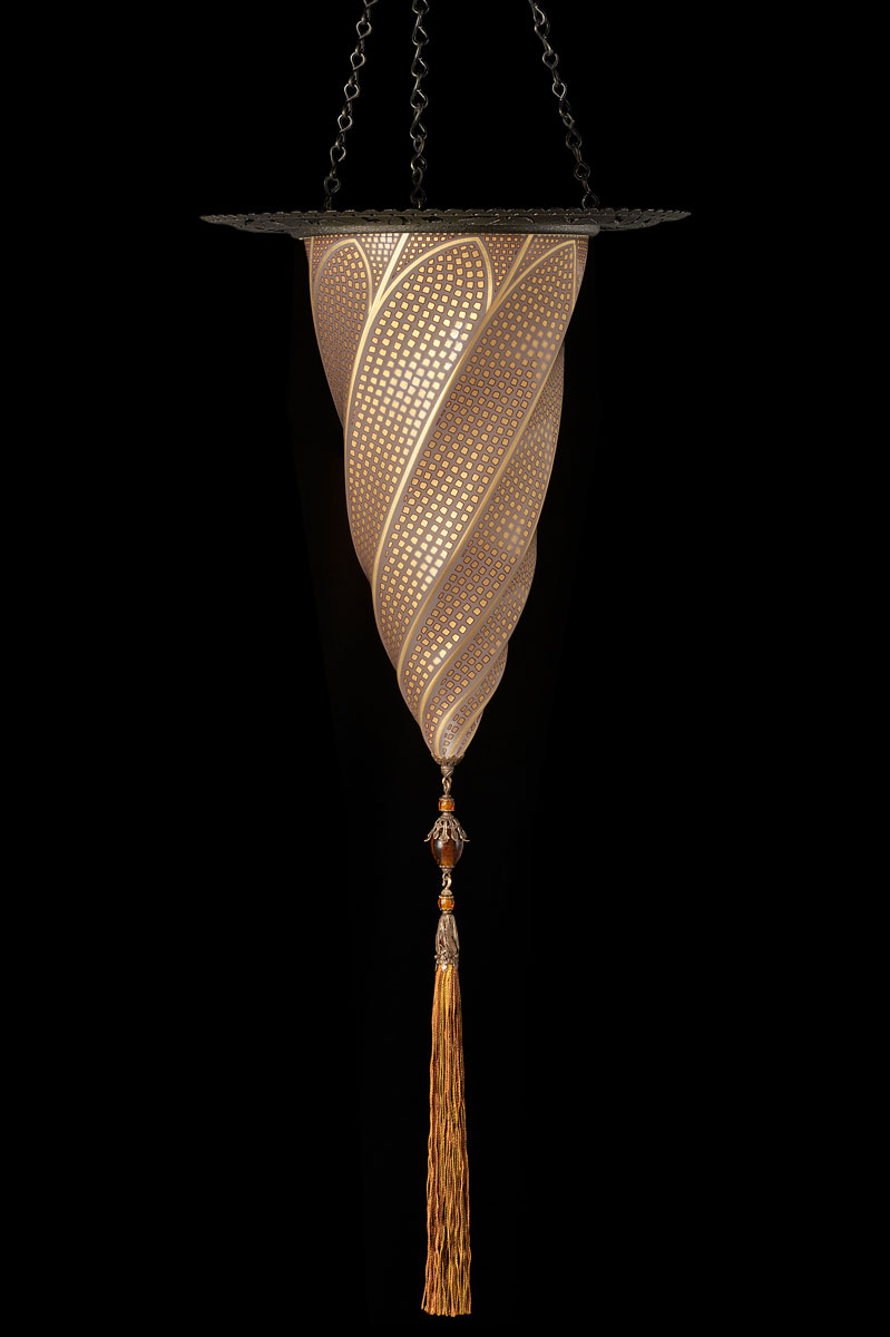 Fortuny Cesendello mosaic gold glass lamp with metal ring