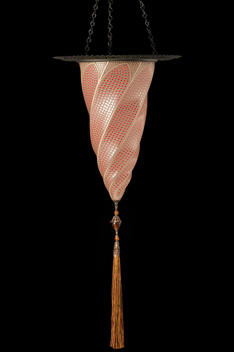 Fortuny Cesendello mosaic red glass lamp with metal ring