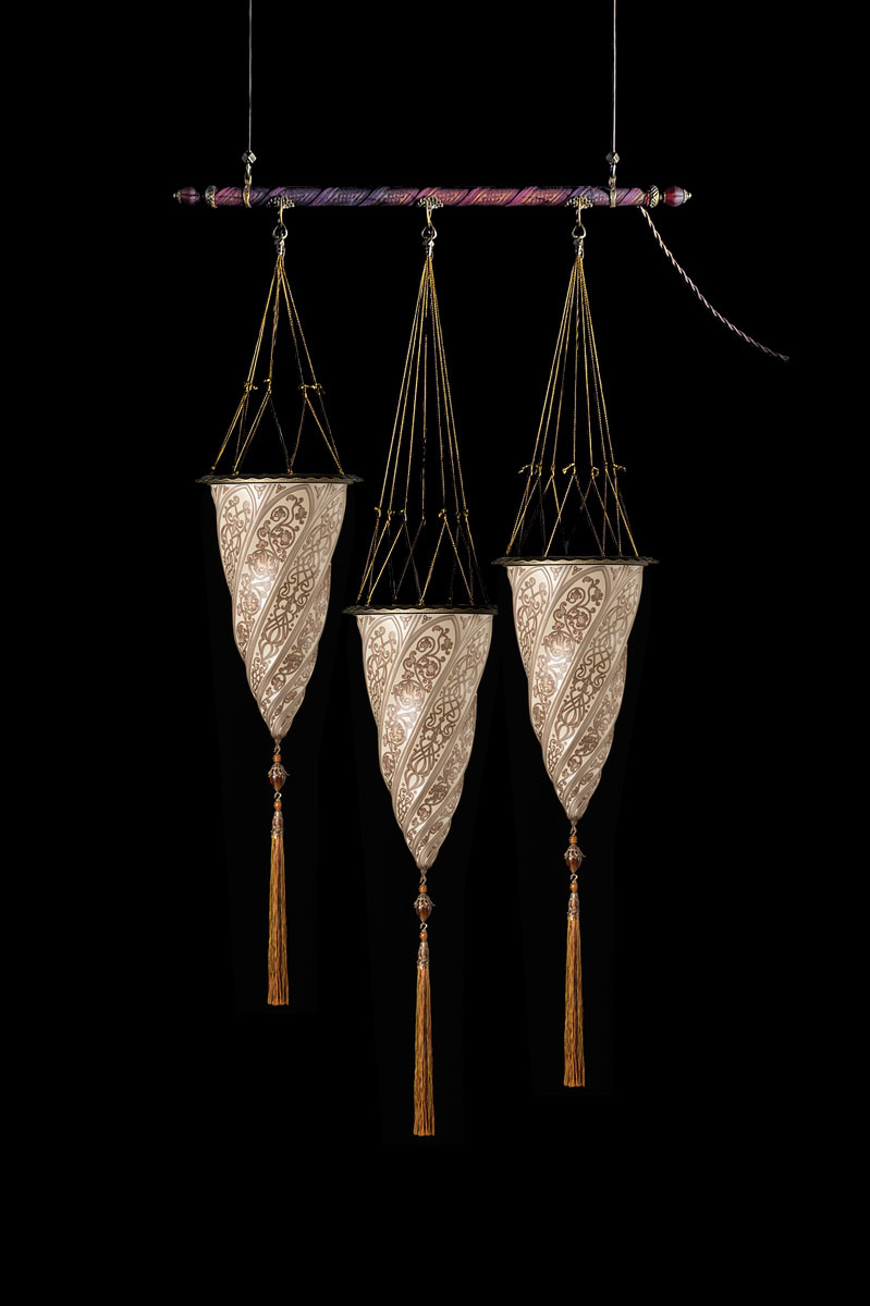 Fortuny Cesendello silver glass lamp on a rod 3 light points