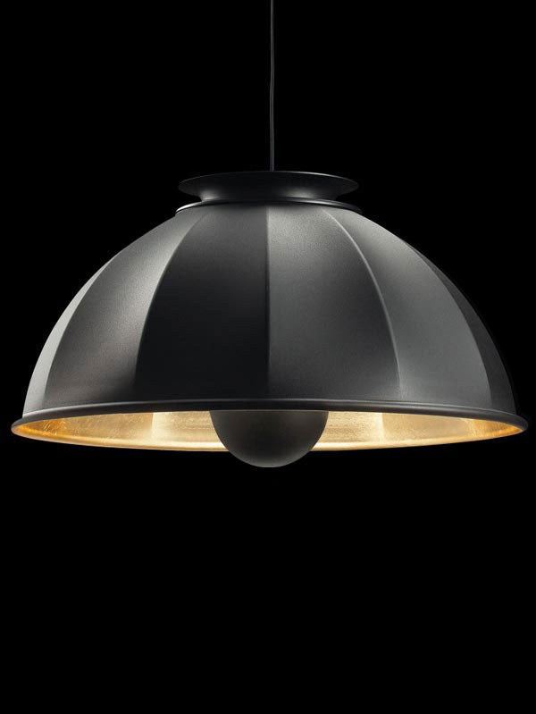 Fortuny Cupola 76 black and gold leaf suspended lamp