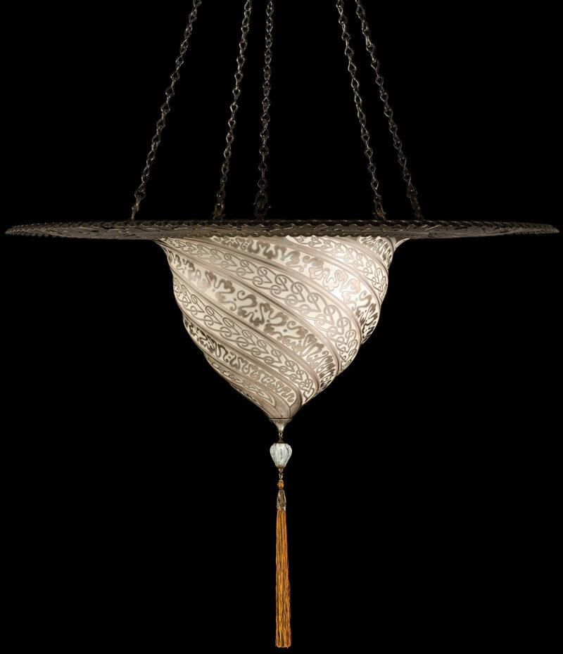 Fortuny Samarkanda  silver glass lamp with metal ring