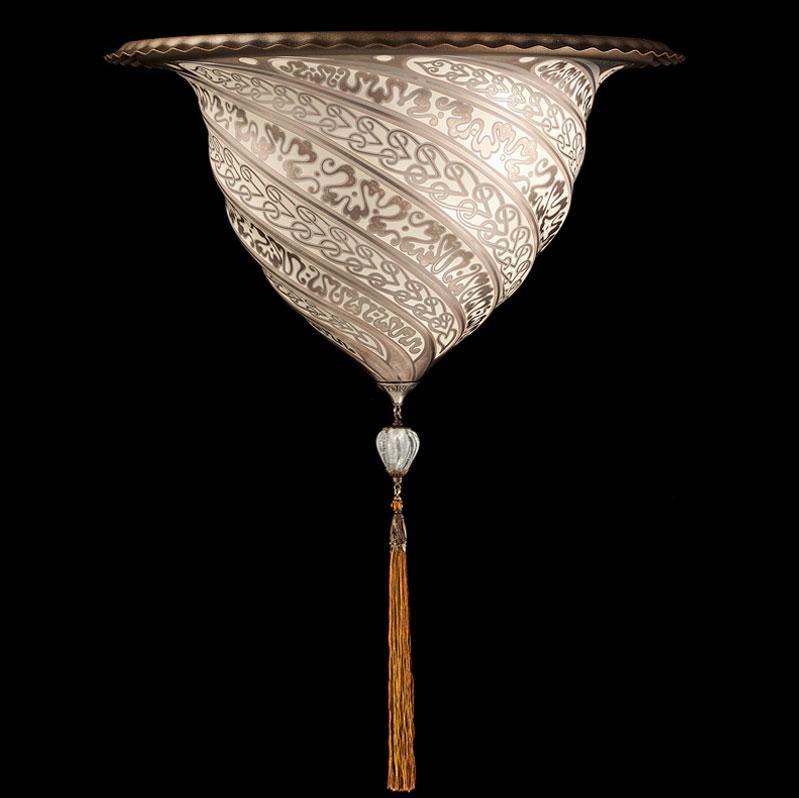 Fortuny Samarkanda wall silver glass lamp applique