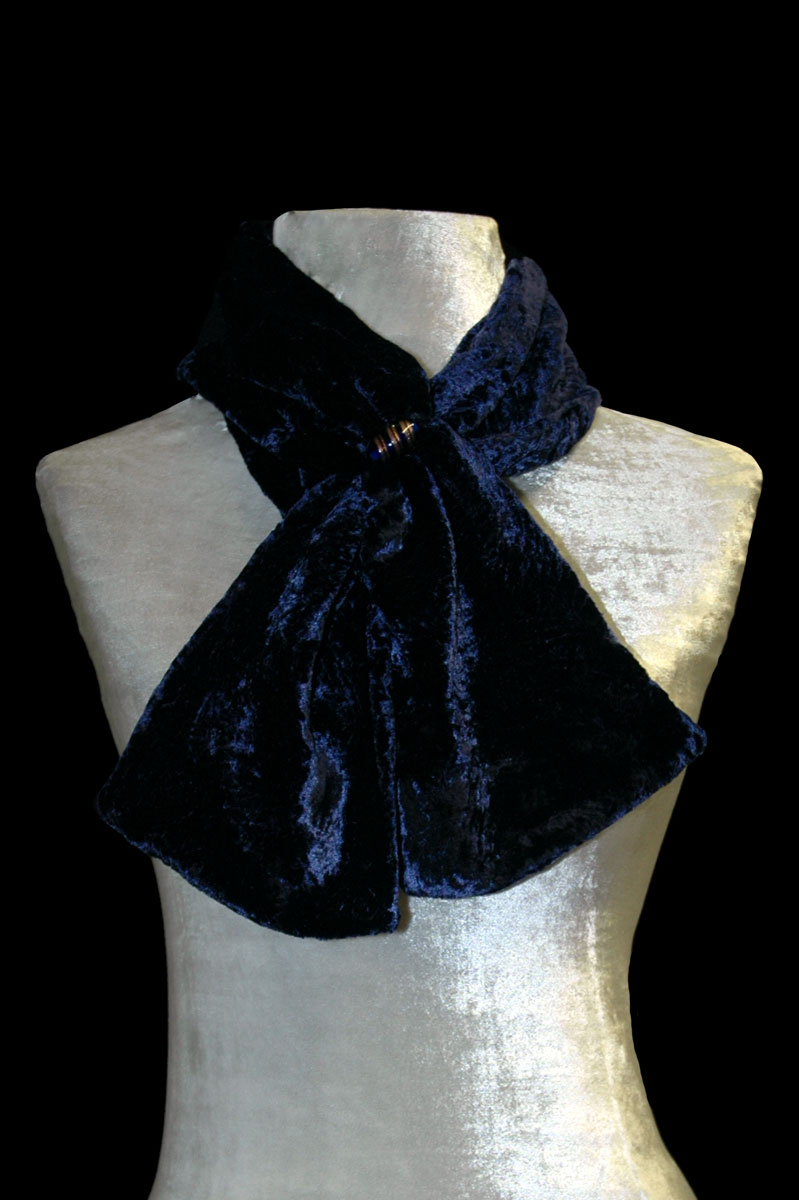 Fortuny Bright navy furrowed velvet scarf with Murano glass bead
