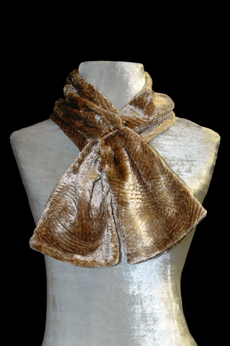 Fortuny nut-brown furrowed velvet scarf with Murano glass bead