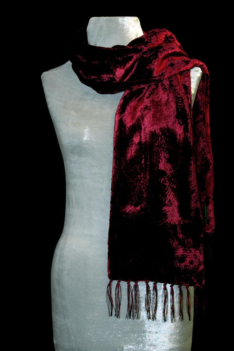 Fortuny dark red furrowed velvet scarf with fringes