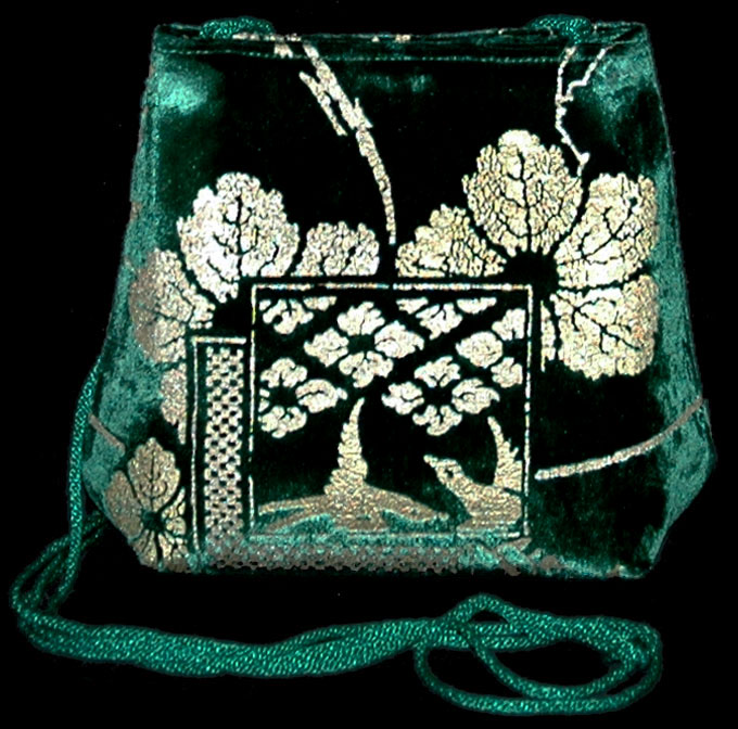 Fortuny Gioia green hand printed velvet bag