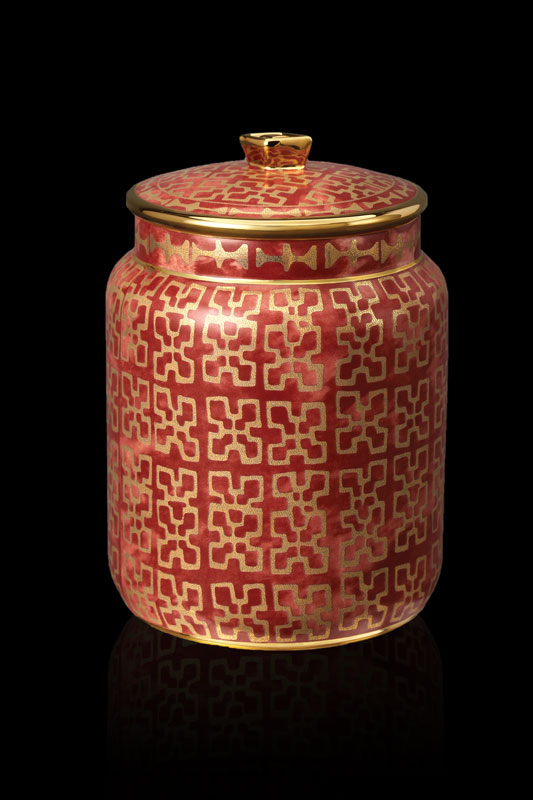 Fortuny tableware Ashanti red small canister