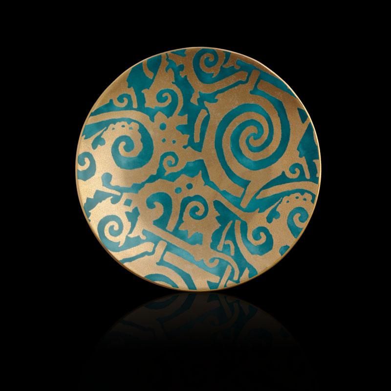 Fortuny Maori teal blue tableware dessert plates set of 4
