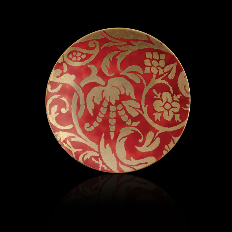 Fortuny Uccelli red tableware dessert plates set of 4