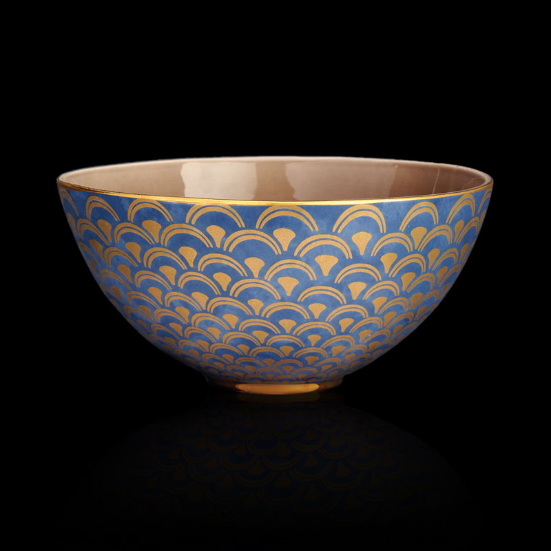Fortuny tableware-Papiro teal blue large serving bowl