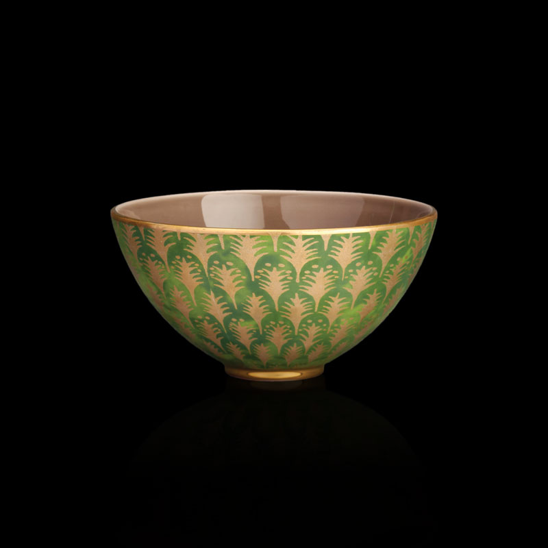 Fortuny tableware Piumette green medium bowl