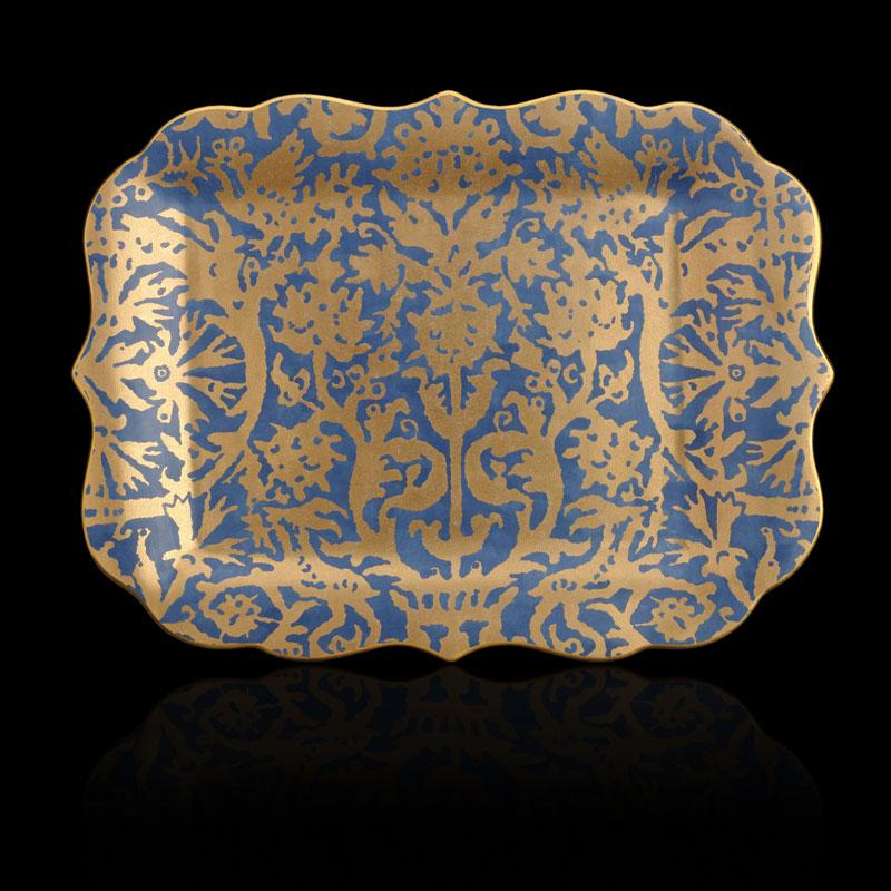 Fortuny Pergolesi rectangular teal blue large platter