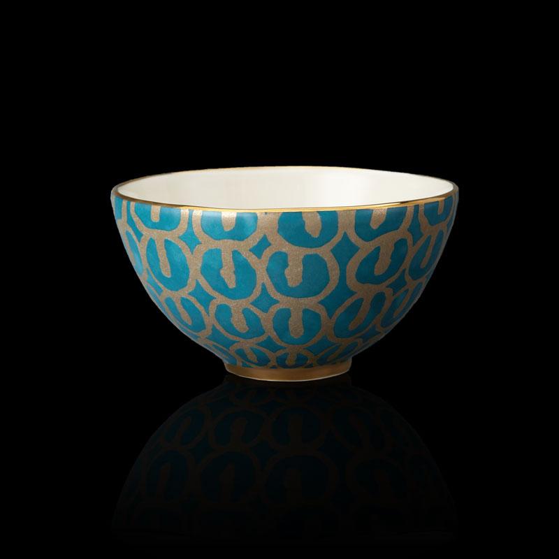 Fortuny tableware Ashanti teal blue cereal bowl