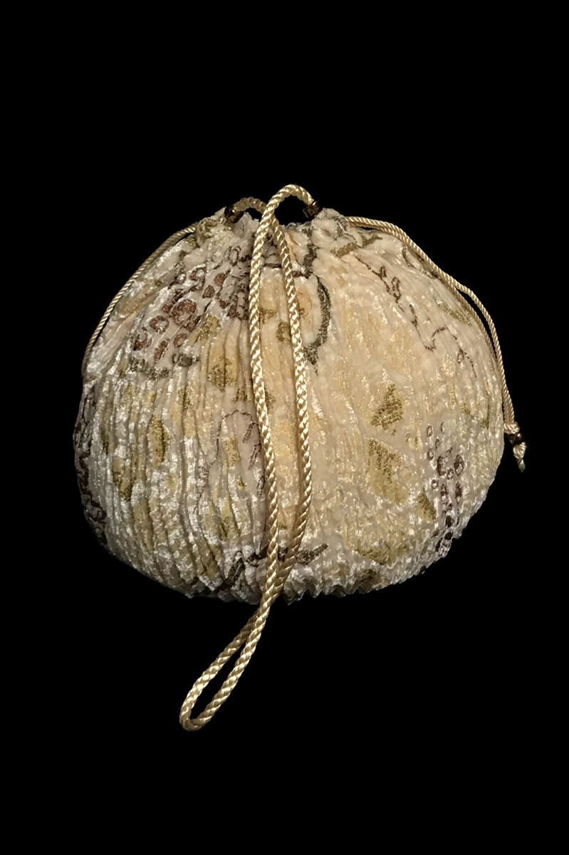 Fortuny round velvet bag