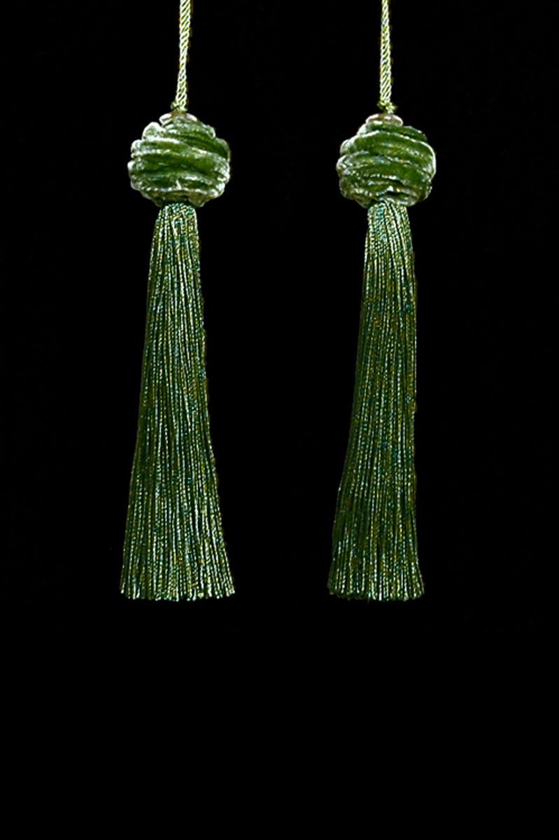 Venetia Studium Turbante couple of avocado  key tassels