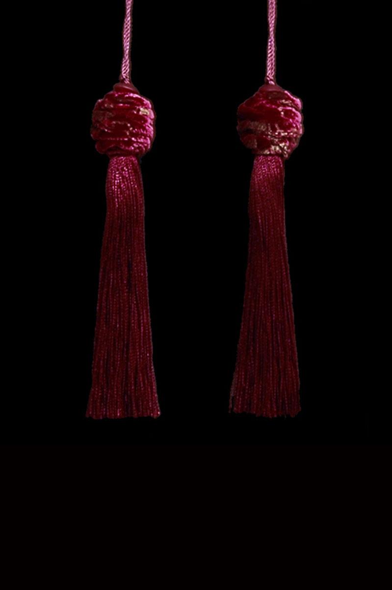 Venetia Studium Turbante couple of dark red key tassels