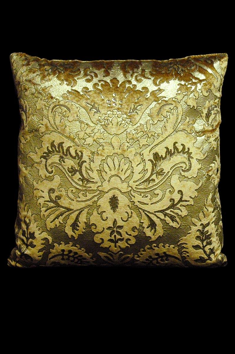 Venetia Studium Barbarigo square caramel velvet cushion front