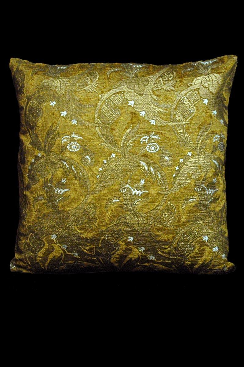 Venetia Studium Bizzarre caramel printed velvet cushion