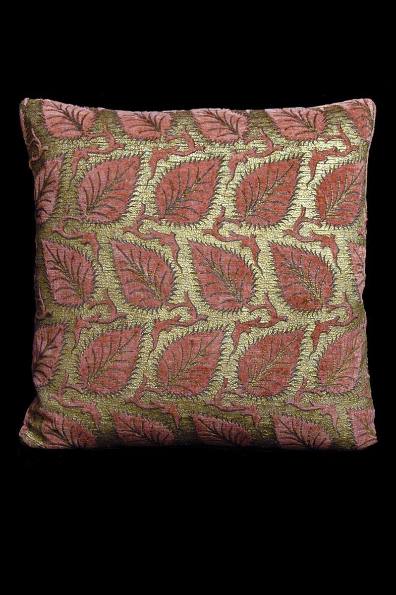 Venetia Studium Heliantus square pink printed velvet cushion front