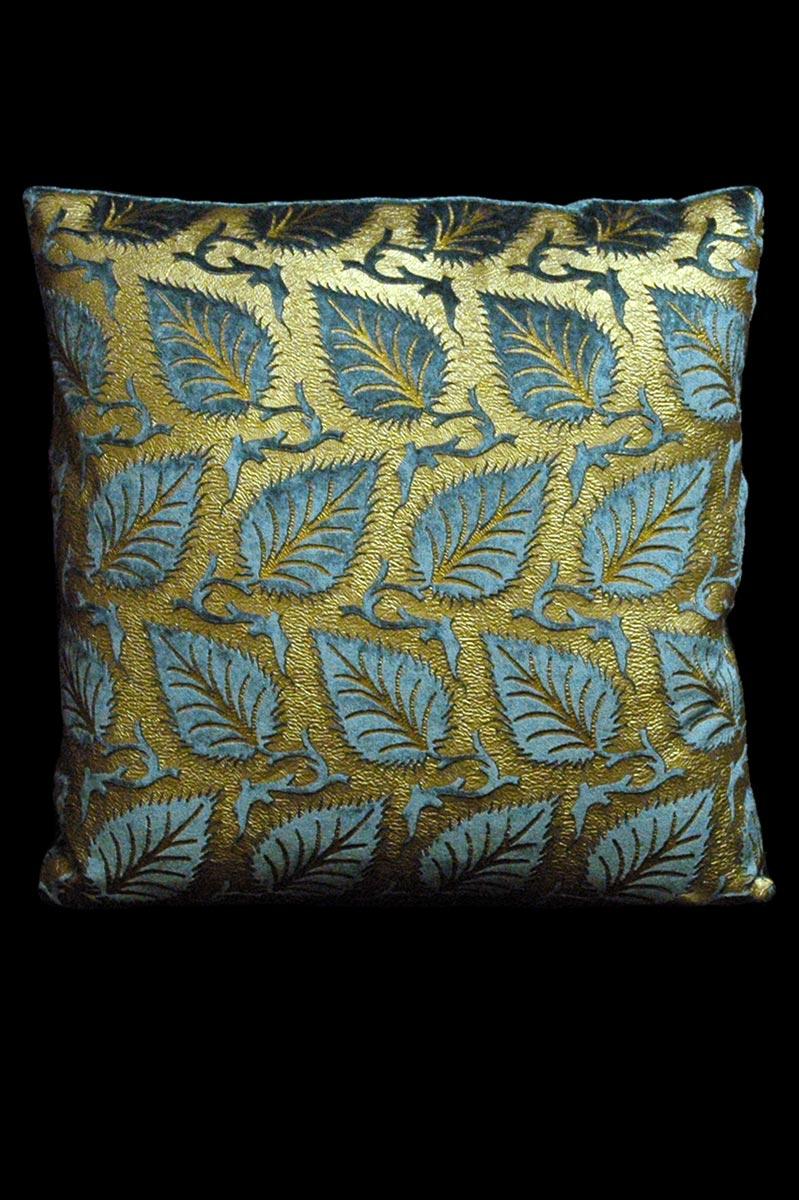 Venetia Studium Heliantus square teal printed velvet cushion front