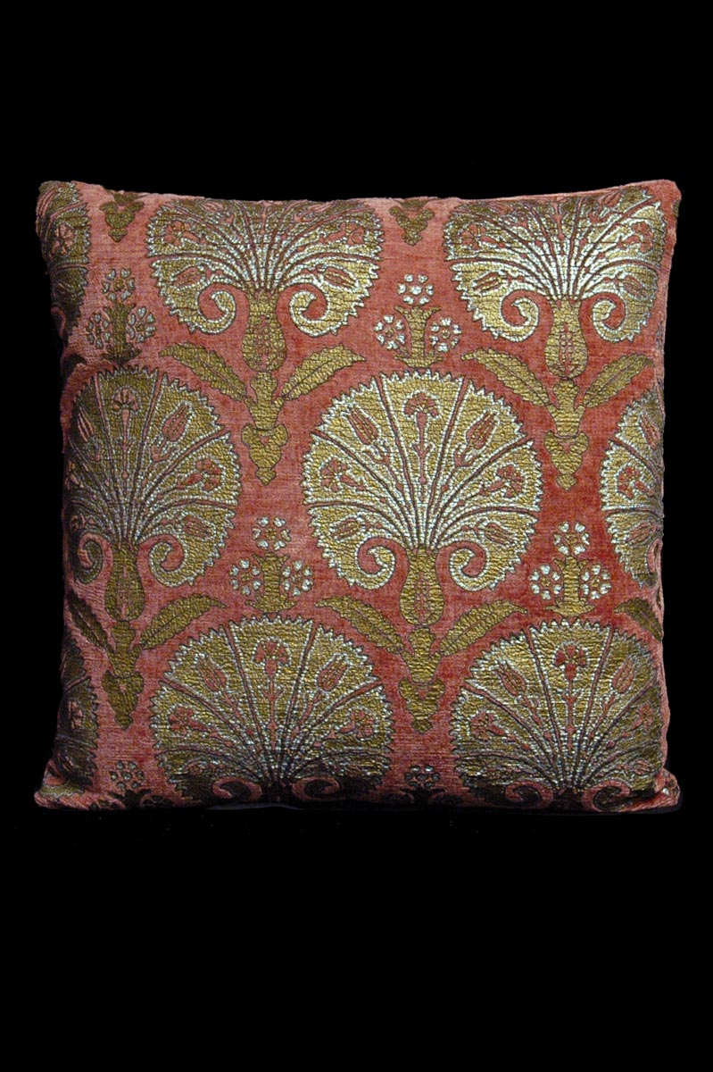 Venetia Studium Istanbul square pink printed velvet cushion front