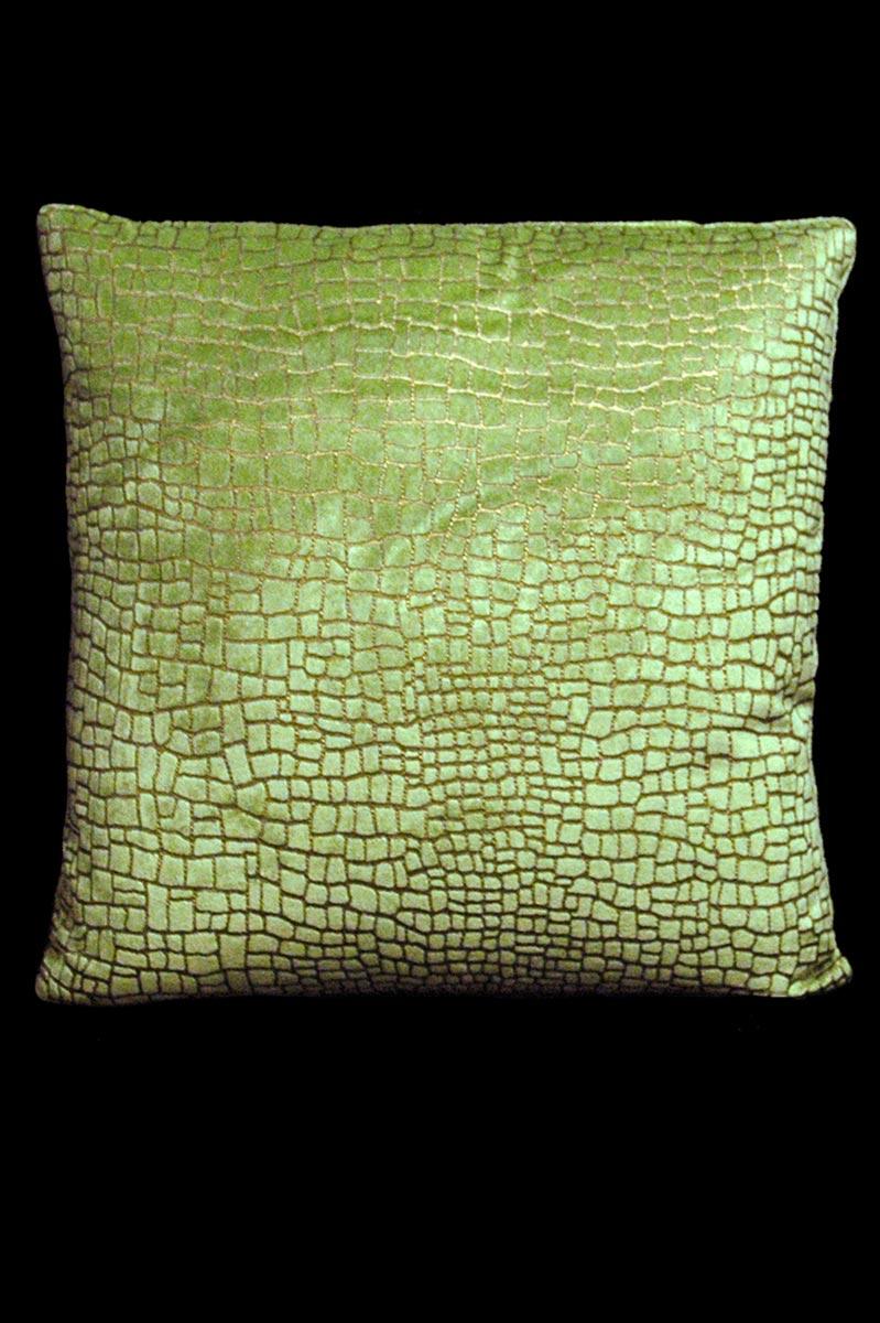 Venetia Studium Mosaico light green printed velvet square cushion front