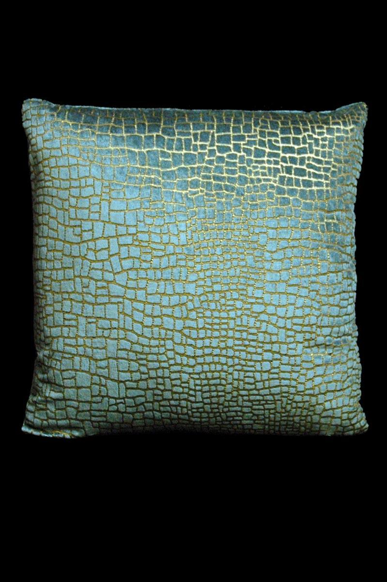 Venetia Studium Mosaico teal printed velvet square cushion front