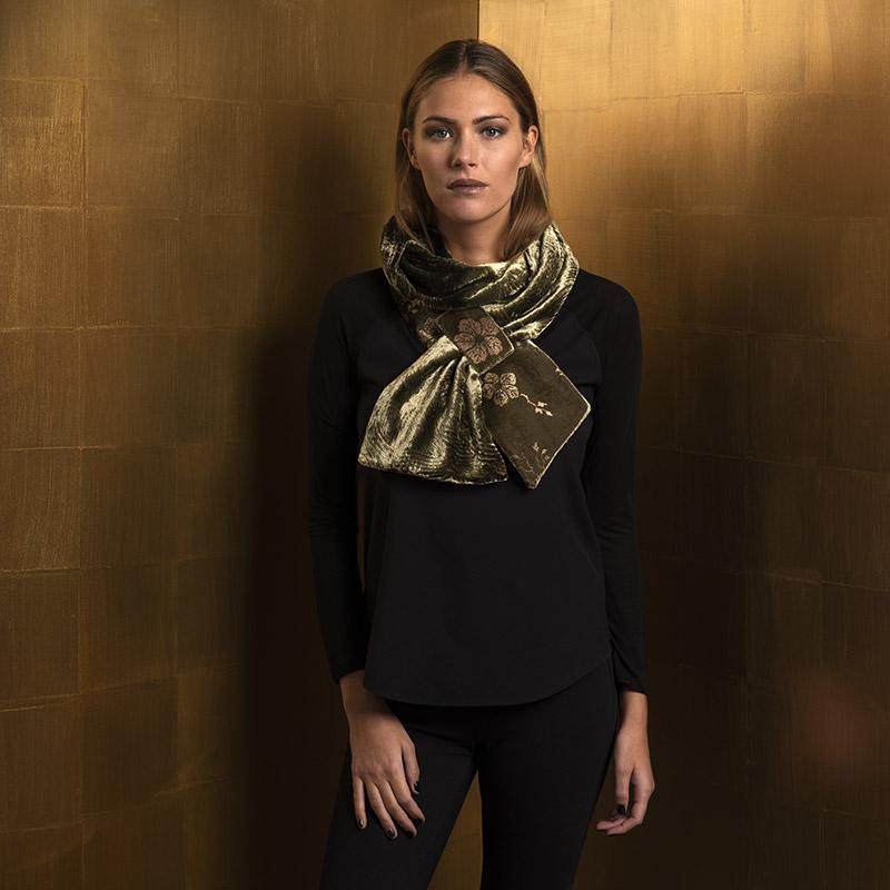 Printed velvet scarves
