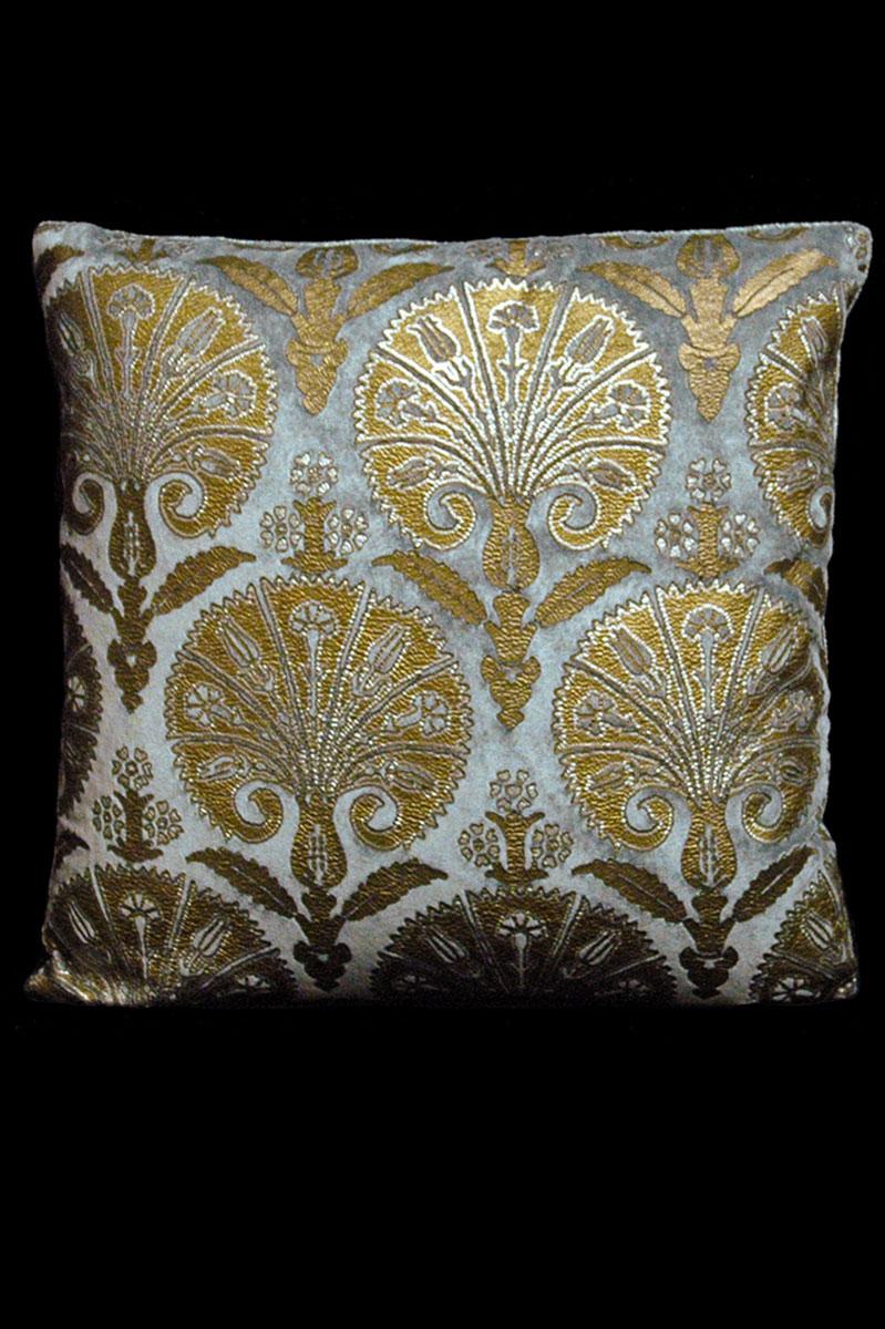 Venetia Studium Istanbul square grey printed velvet cushion front