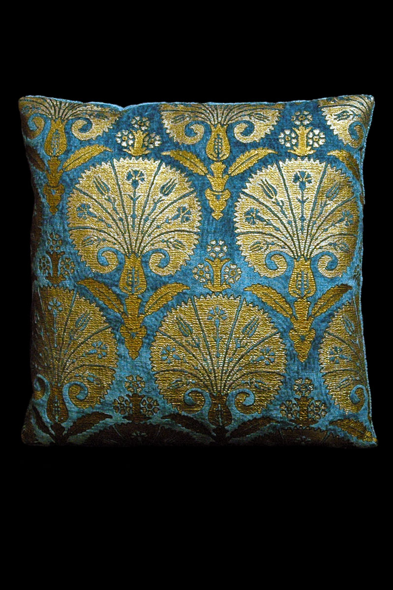 Venetia Studium Istanbul square teal printed velvet cushion front