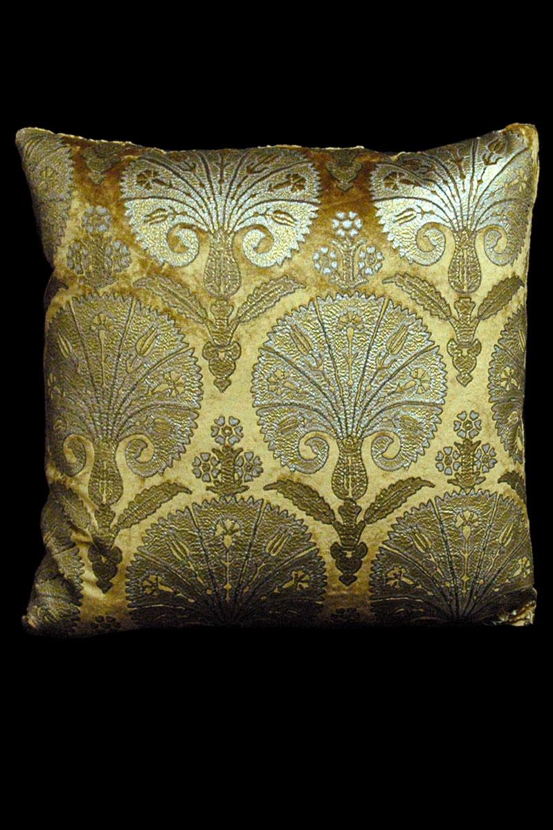 Venetia Studium Istanbul square caramel printed velvet cushion front