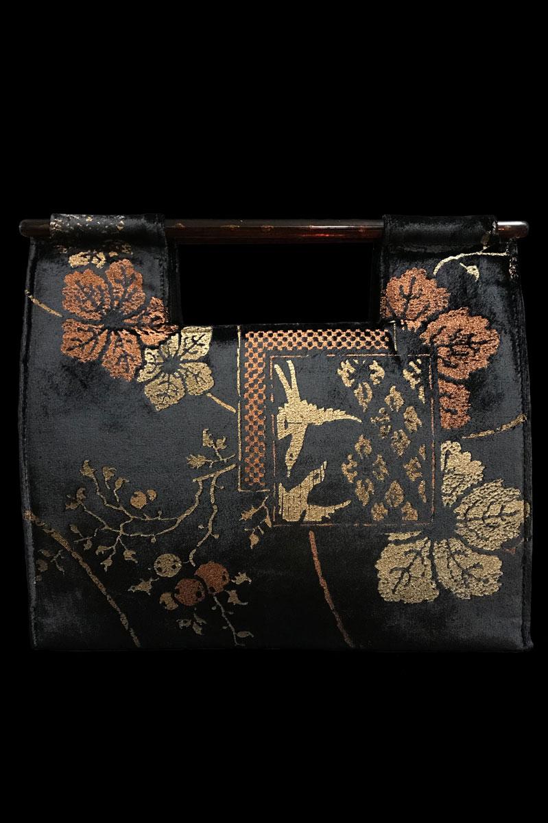 Fortuny Aiko black velvet bag