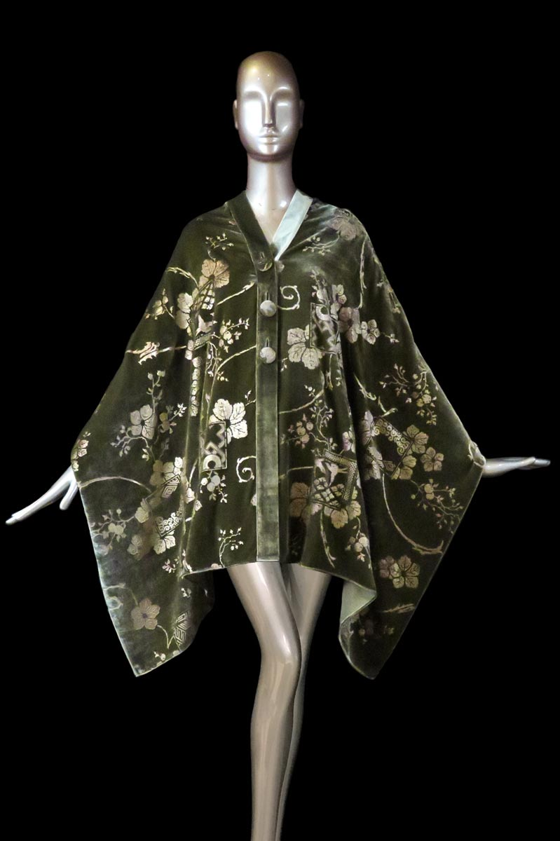 Fortuny olive green printed velvet stole with buttons front