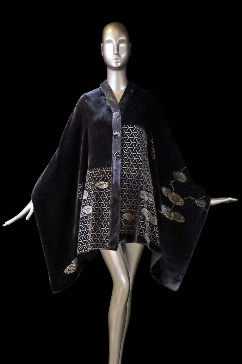 Fortuny purple-grey printed velvet stole with buttons front