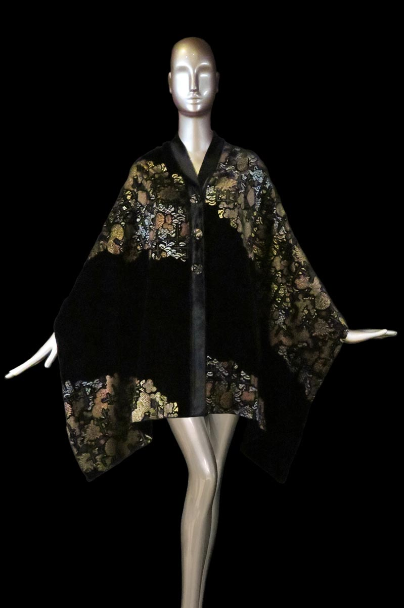 Fortuny black printed velvet stole with buttons side