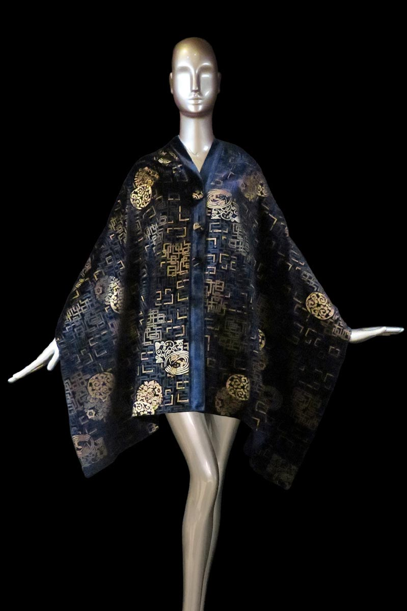 Fortuny blue navy printed velvet stole with buttons front