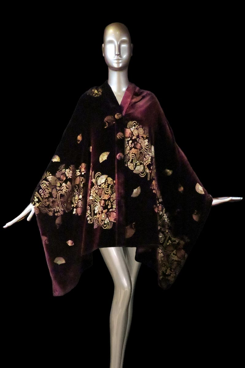 Fortuny bordeaux printed velvet stole with buttons front