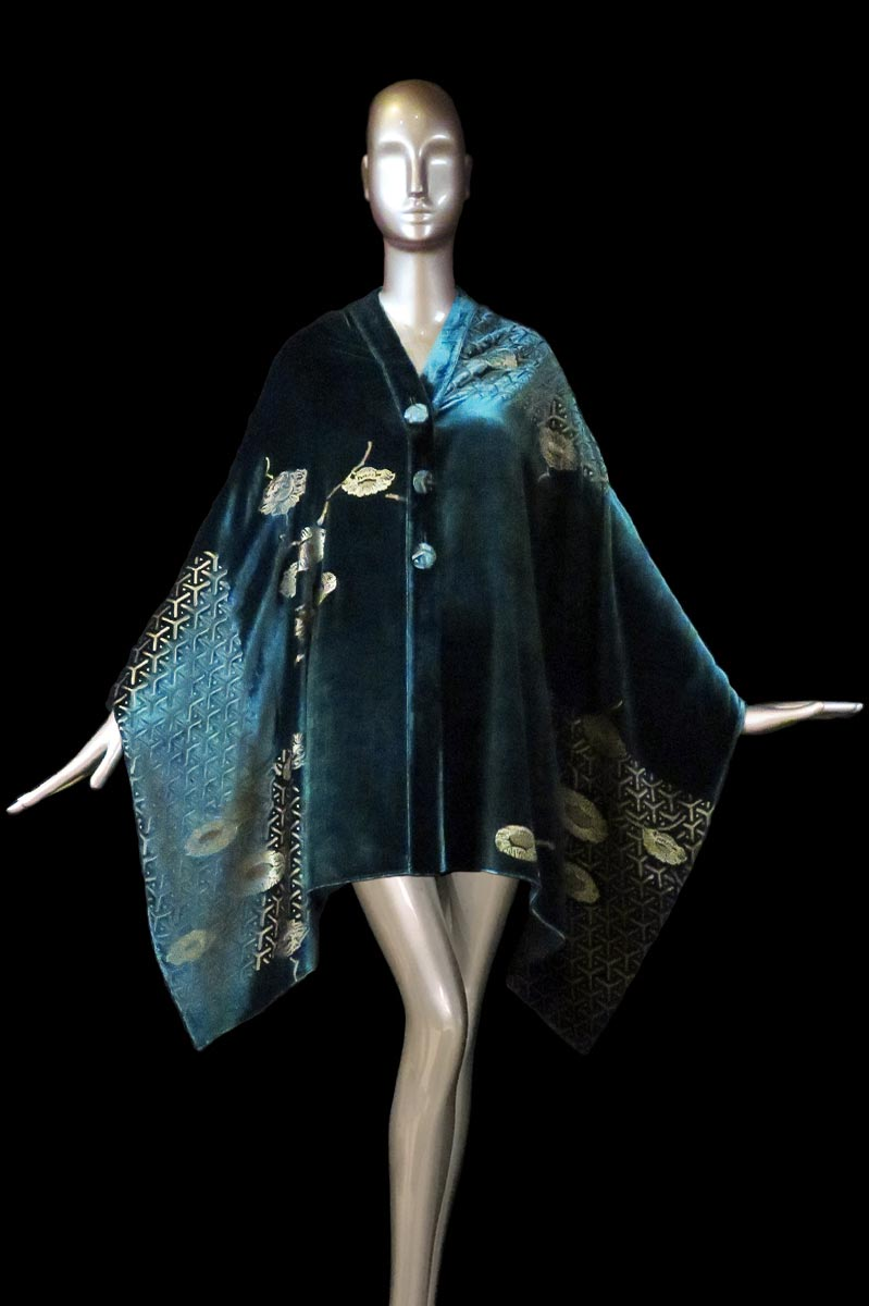 Fortuny dark teal blue printed velvet stole with buttons front