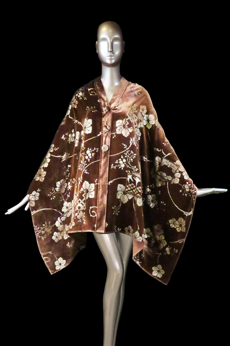 Fortuny burnt printed velvet stole with buttons front