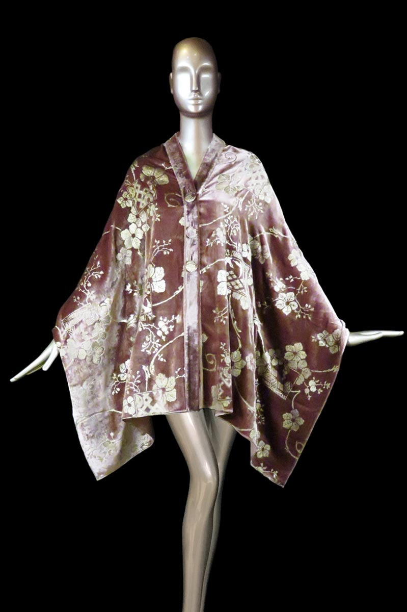 Fortuny mauve printed velvet stole with buttons front