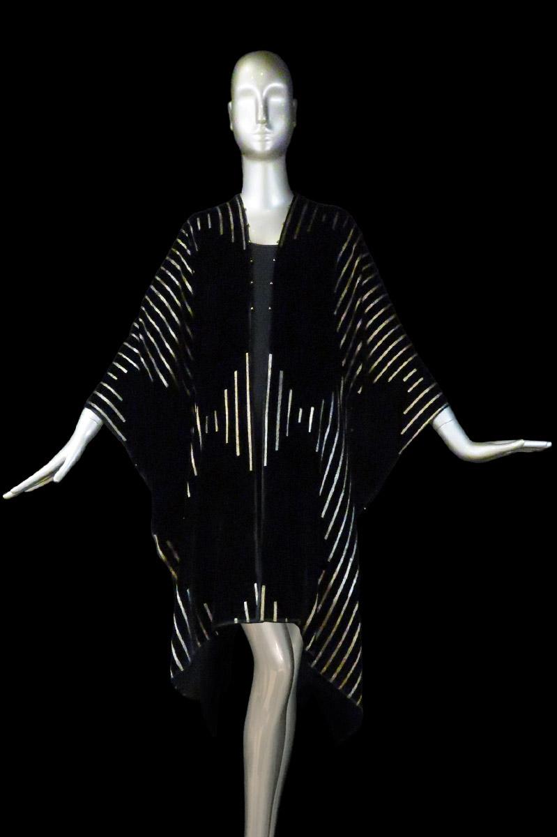 Fortuny printed velvet long evening coat back