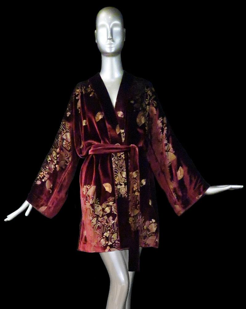 Fortuny printed velvet kimono