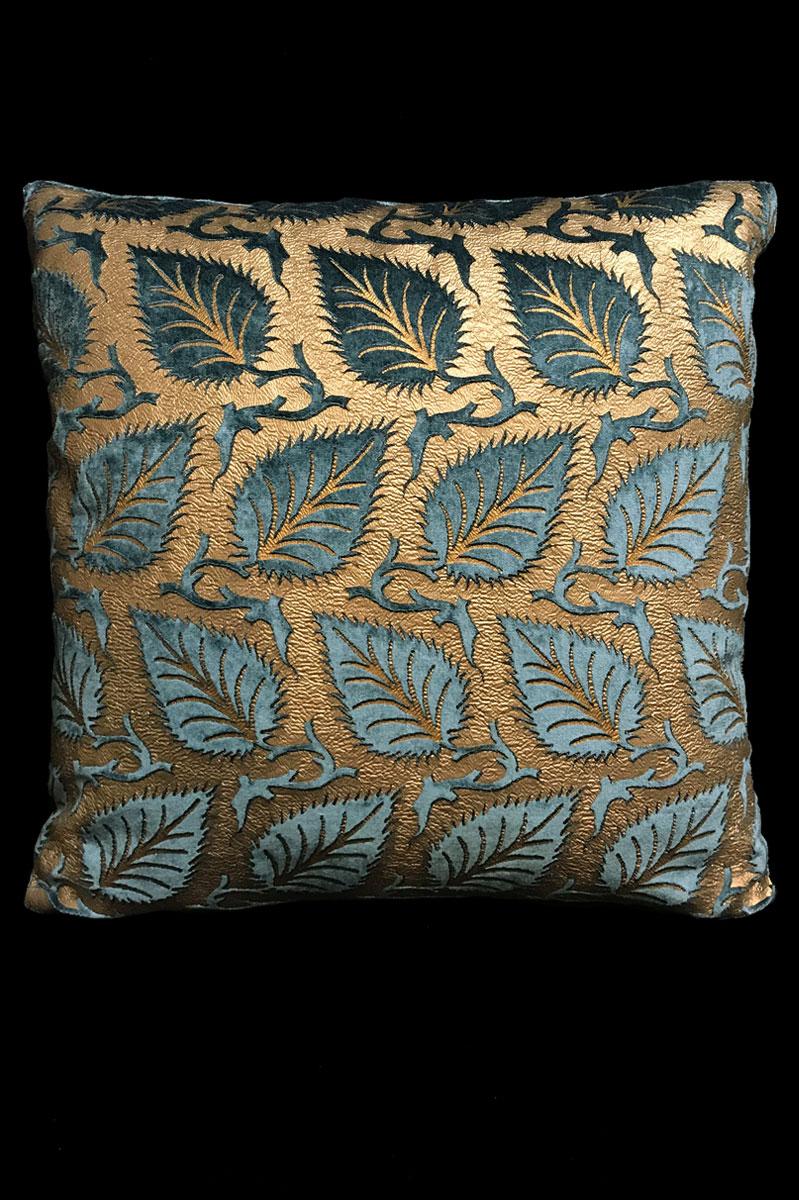 Venetia Studium Heliantus teal blue printed velvet cushion
