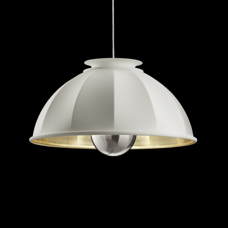 Fortuny Cupola 63 white and gold suspended lamp