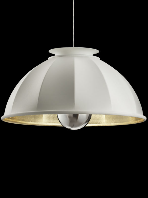 Fortuny Cupola 76 white and gold suspended lamp